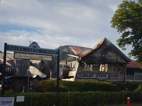 DEVASTATING: Fire burned for several hours at Dalby State School.