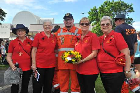 Hospital Auxiliary Ballina's Dorothy Staples, Narell O'Donnell, Aaron Penn , Barbara McFadden and Marie Gray at the Anzac Day commemorations at Memorial Park. April 25, 2017.