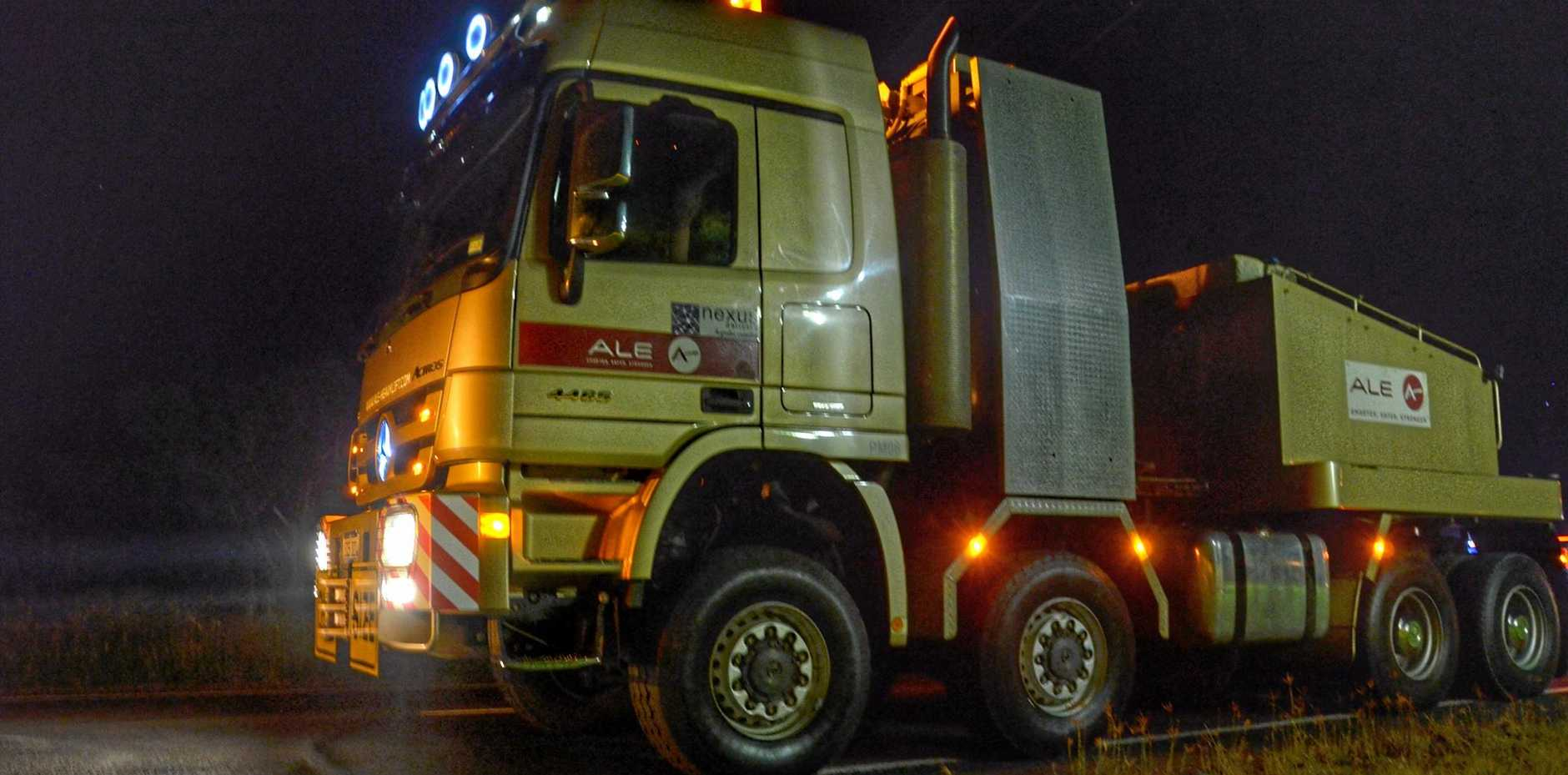 GOT THE GRUNT: The ALE Mercedes Benz Actros block truck led the pack and added the weight, and traction needed to get up the range.