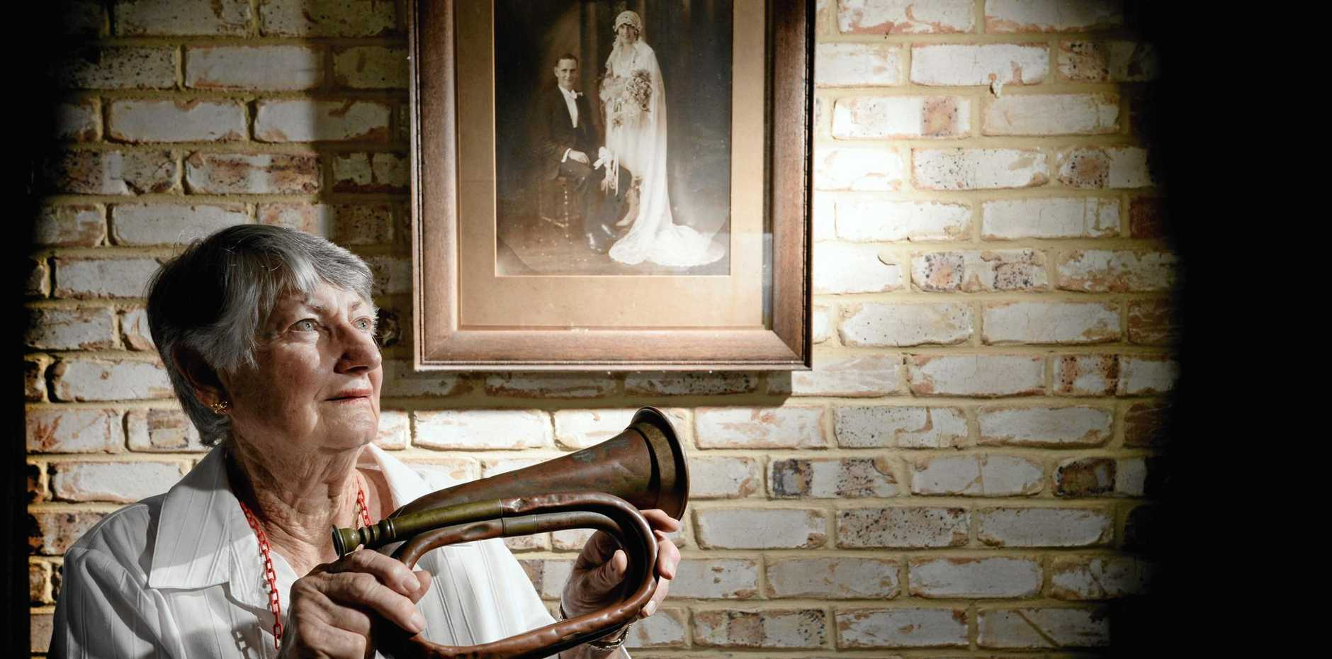 REMEMBERING  OUR ANZACS:  Jan Clarke with her father's bugle. Roy Wynter played it at the infamous campaign of Basheeba.