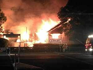 TRAGIC: An inferno ripped through Dalby State School in the early hours of the morning.