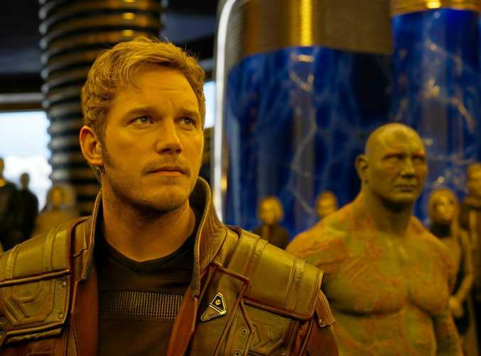 Star-Lord/Peter Quill (Chris Pratt) and Drax (Dave Bautista) in Guardians Of The Galaxy Vol. 2.