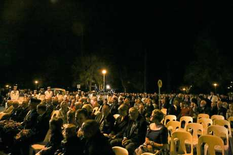 The crowd stretching out through Memorial Park at Gympie's first Dawn Service at Memorial Lane.