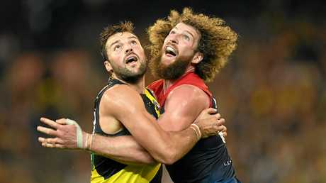 Toby Nankervis of the Tigers (left) and Jake Spencer of the Demons.