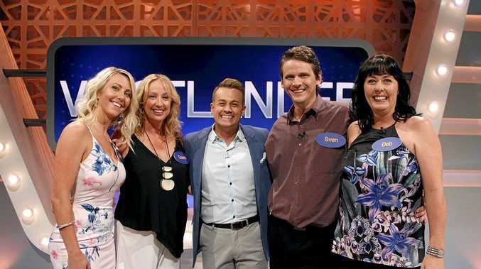 Deb Voigtlander, aka The Game Show Queen, her husband Sven, sister Dawn Brown and eldest daughter Nikki Luethen with Grant Denyer on Family Feud from Monday nights screening on Network 10.