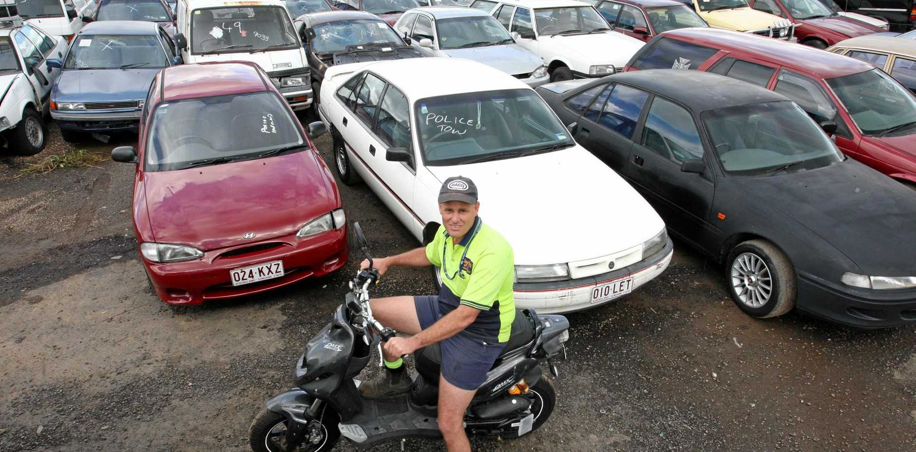 Mike Clayton at the Nambour car yard in the lead-up to a previous year's sale.