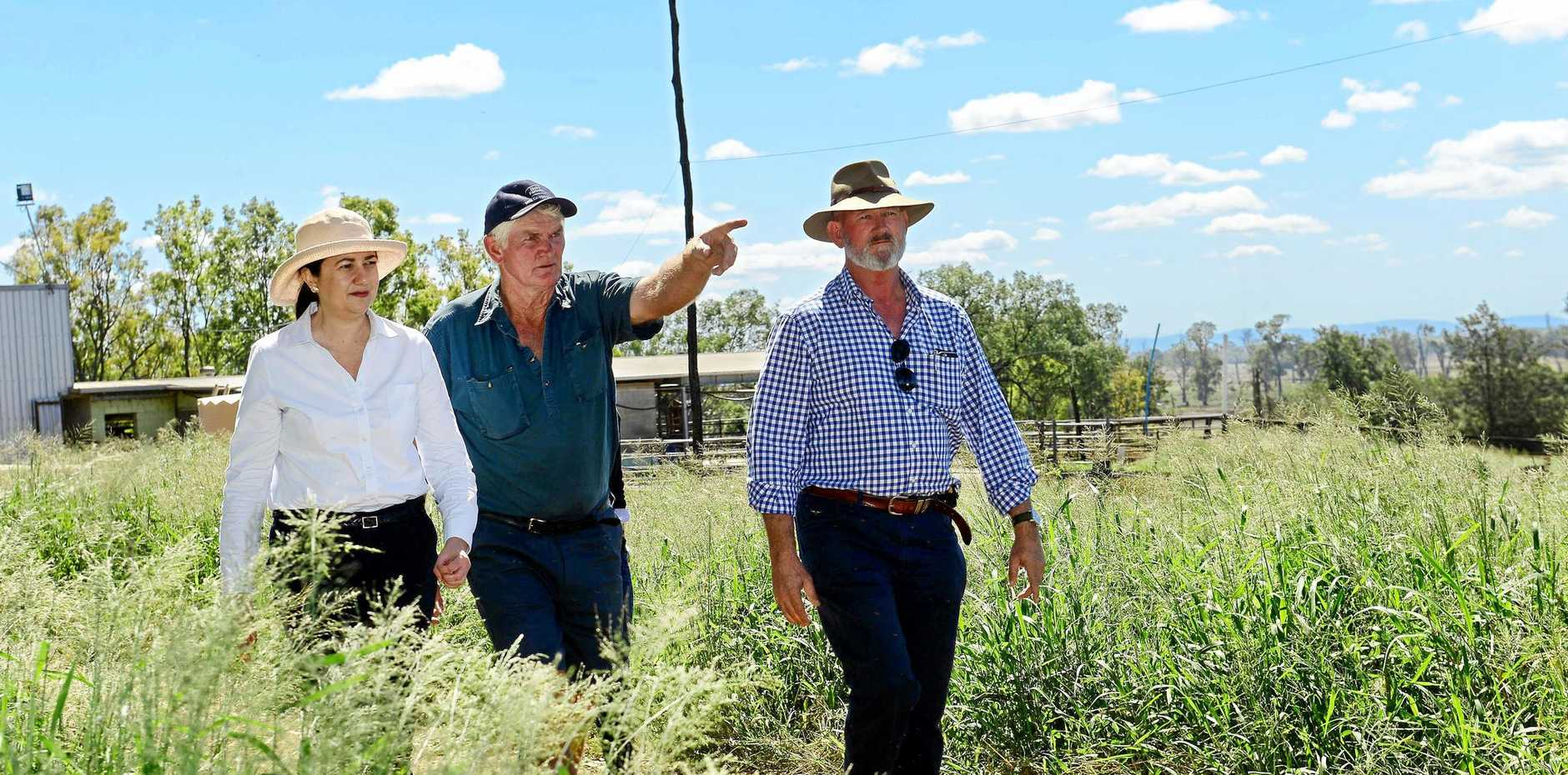 Queensland Premier Annastacia Palaszczuk and Minister for Agriculture Bill Byrne met with Scenic Rim farmer and vice-president of the Queensland Dairy Farmers organisation Ross McInnes (centre) to inspect recent flood damage in the region.