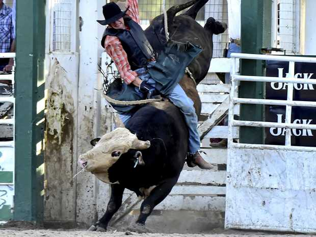 Jack McArthur took home the open bull ride at Millmerran on Chuckles.
