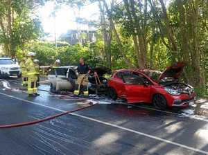 DESTROYED: Two cars were burned out during the Anzac Day service at Buderim this morning.
