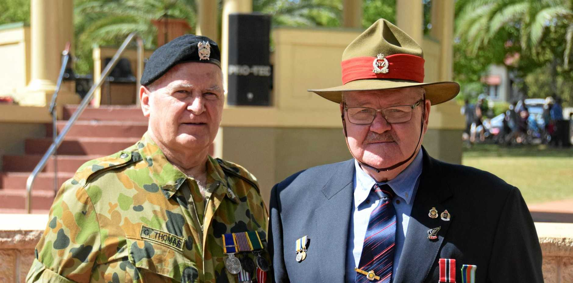 GOOD MATES: Nanango's Grahame Thomas and Kingaroy's Mick Bellam at Kingaroy's 2017 Anzac Day service.
