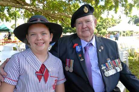 Amaya McKinnon with her grand dad Robert McKinnon at the Mackay Anzac Day Ceremony.