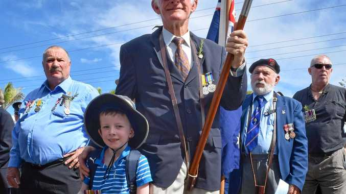 ABOVE: Graeme Gould marched with his grandson Leo Mihulka who wore his great great uncle's medals.