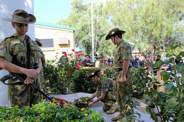 Army cadets lay wreath during Blackwater Anzac Day service.