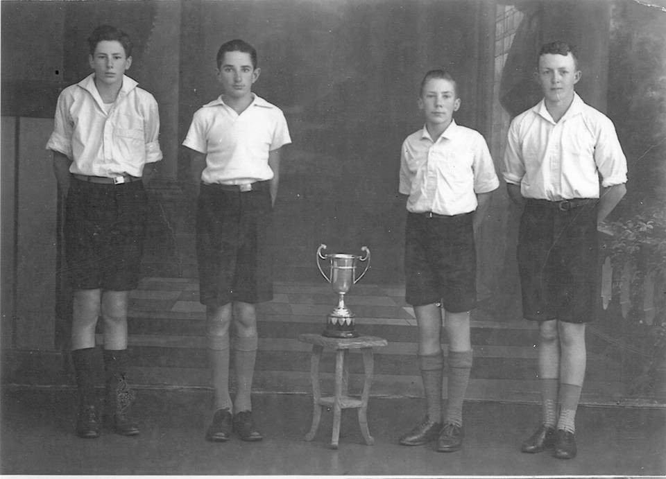 Allora State School students David Harris, Ron Gwynne, David Blackburn & Joe Whitton were winners of the prestigious Garland Cup in 1948, a relay award for school sports .