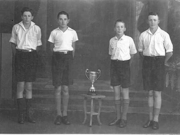 Allora State School students David Harris, Ron Gwynne, David Blackburn & Joe Whitton were winners of the prestigious Garland Cup in 1948, a relay award for school sports .