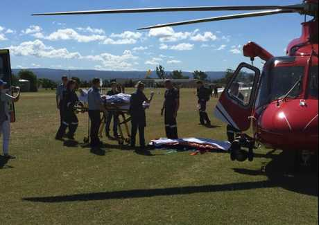 LUCKY ESCAPE: Two men have been taken to hospital in a stable condition following a crash landing at Gatton. Credit: Nine News Queensland/ Twitter