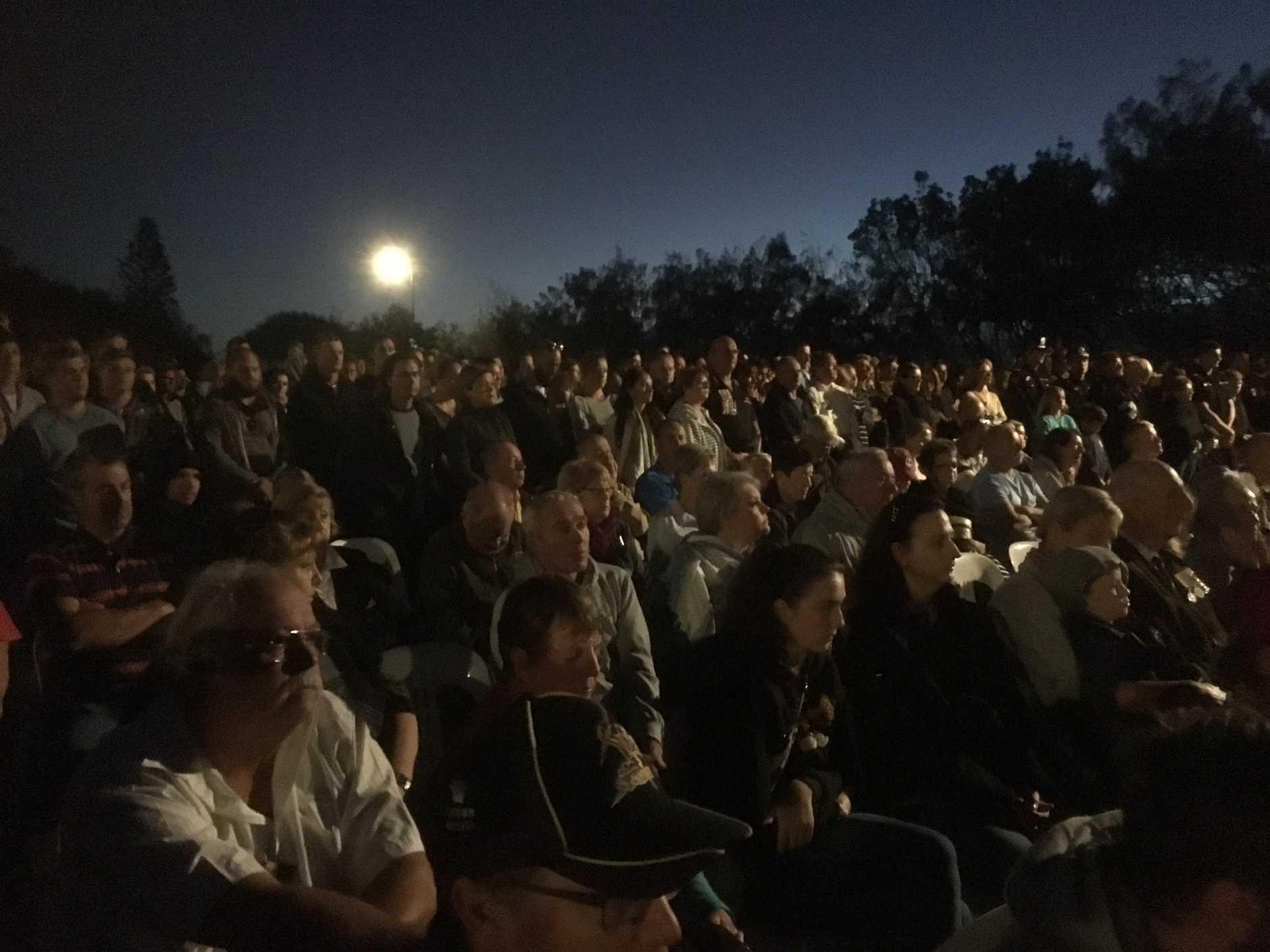 The crowd at the Kawana dawn service.