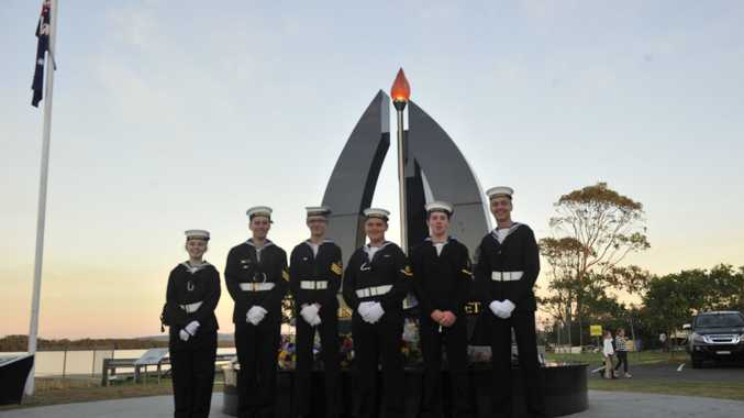 (L-R) TS Lismore Navy Cadets, Jessica Hobson, Geoffrey Tapping, Hayden Smith, Brandon Eyears, Jayden Webb and Lachlan Miller at the Ballina Anzac Day dawn service. April 25, 2017.