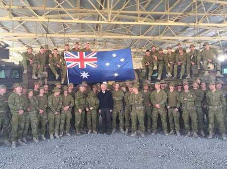 Prime Minister Malcolm Turnbull meets with Australian troops serving at Camp Qargha near Kabul, Afghanistan, Monday, April 24, 2017.