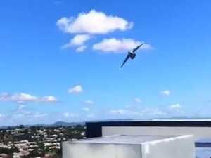 Amazing close-up footage of war plane diving towards Rocky's CBD