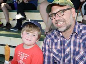 Henry, 5, and Phil Davis of Lismore at Nitro Circus