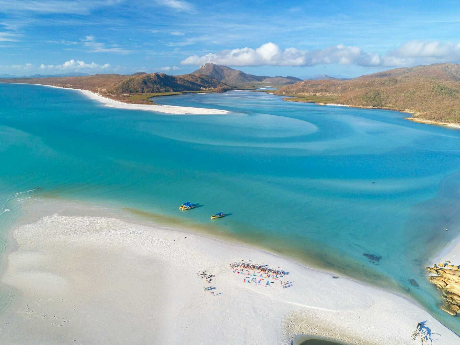 A bird's eye view of Hill Inlet and Whitehaven Beach.