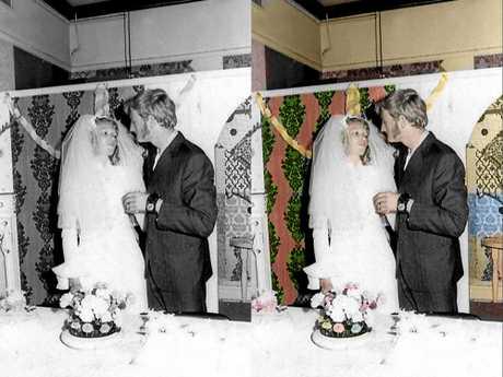 A restored photo of Hanna Groves' parents Yolanda Groves and Warner Groves.