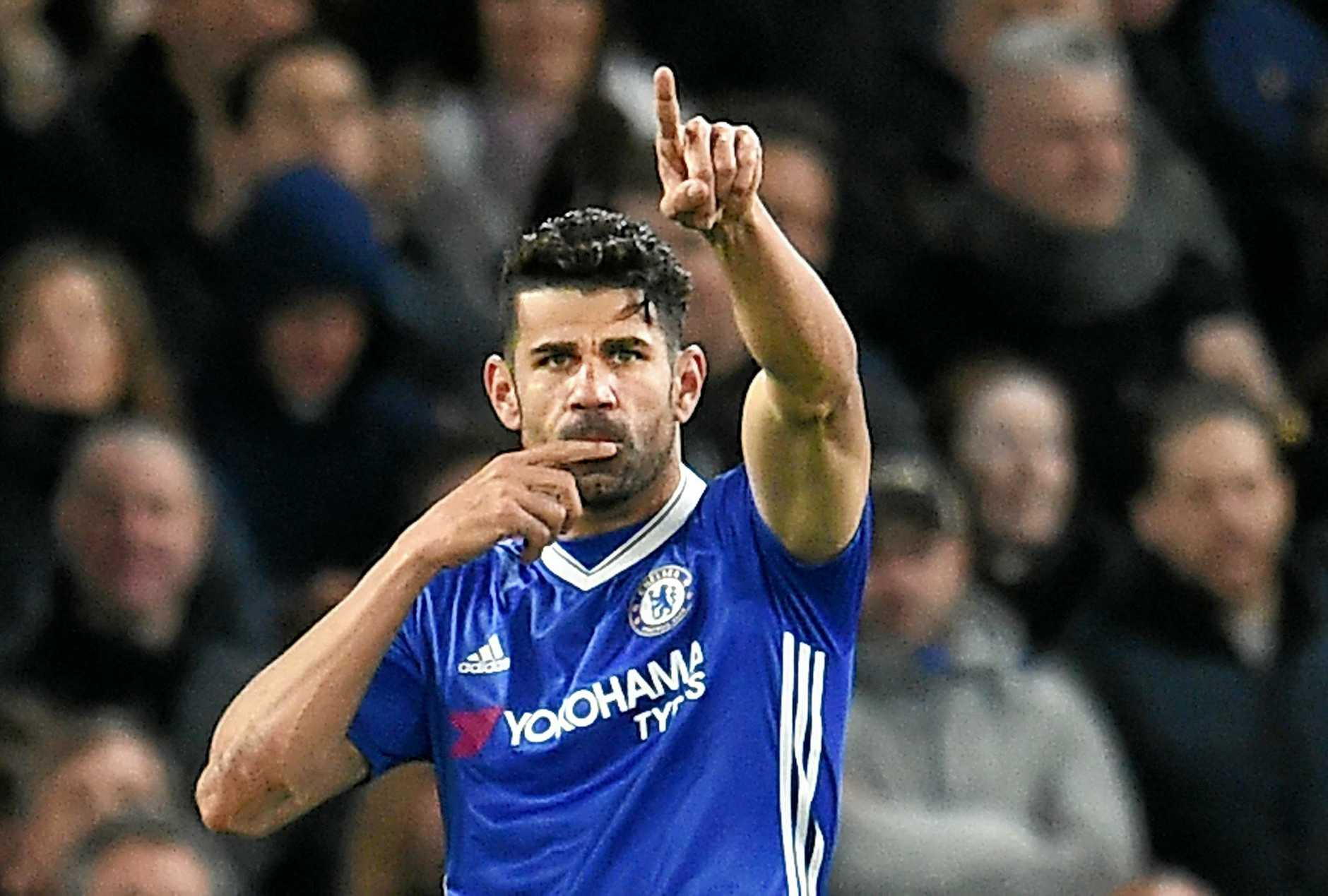 Chelsea's Diego Costa celebrates after scoring against Southampton.