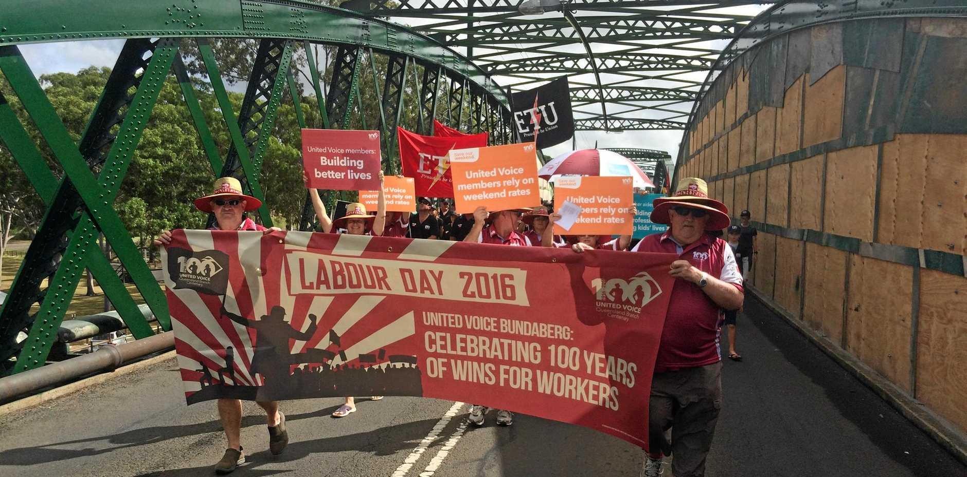 UNITED: Labour Day celebrations in Bundaberg last year.