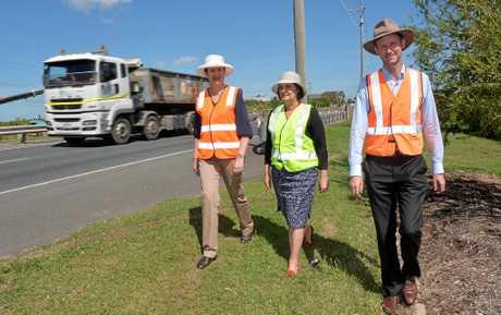 Premier Annastacia Palaszczuk, Member for Mackay Julieanne Gilbert and Minister for Main Roads Mark Bailey at Vines Creek Bridge on Harbour Road.