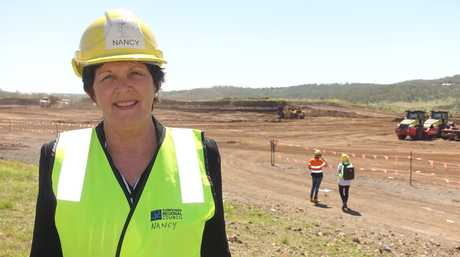 TRC Water and Waste Committee chair Cr Nancy Sommerfield in front of the area where the Vertical Expansion Project is progressing