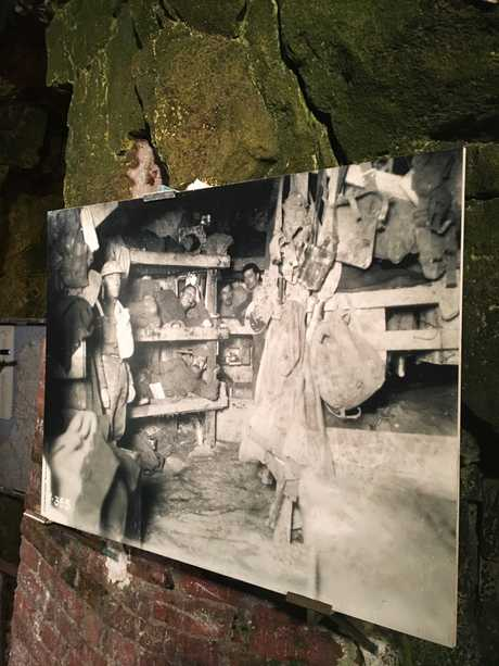 An old image on display in the tunnels shows where the soldiers slept.