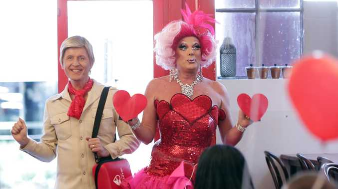 Comic star Bob Downe (aka Mark Trevorrow) and Maude Boat (aka Michael Gates) star in a fabulous new commercial to promote Lismore's Restart the heart campaign.