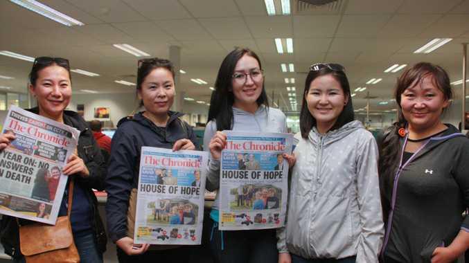 Enjoying a tour of The Chronicle office to learn more about how news organisations in Australia function are Mongolian visitors (from left) Tungalagtuya Mishig, Ariunzaya Byambaa, Bolortuya Chuluunbaatar, Iderjargal Dashdondog and Baasansuren Tsetsegmaan.
