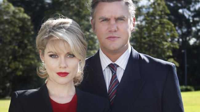 House of Bond's Ben Mingay as Alan Bond with Rachael Taylor as Diana Bliss.
