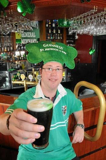 The Gympie Times journalist Matthew Seaniger in the Freemasons hotel Irish Bar having a green beer in 2010.