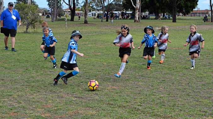 KICKING OFF: The U6 teams Moura Chipmunks v Valleys Mighty Ducks playing their first game of soccer on Saturday.