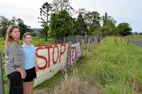 ANGER: Ellie Ryan and her daughter Lydia will live just 70m from the planned 30m high tower at 1555 Nimbin Rd, Koonorigan.