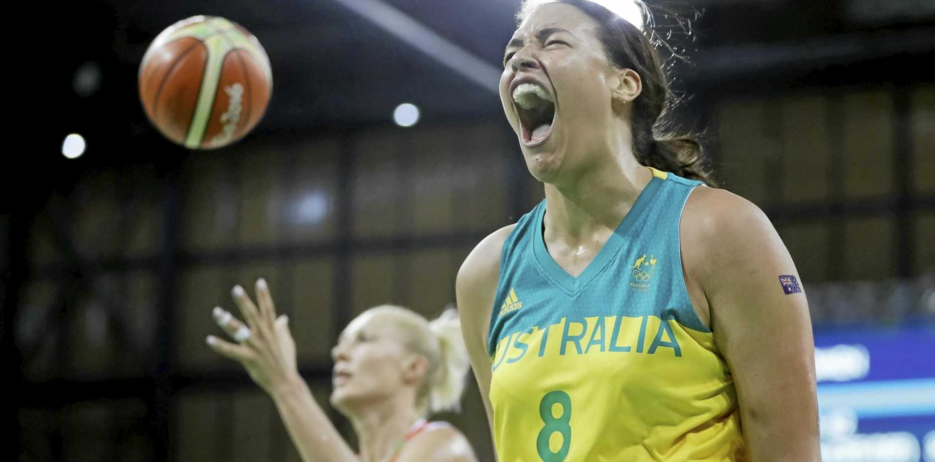 Australia centre Liz Cambage reacts after making a basket for the Opals.