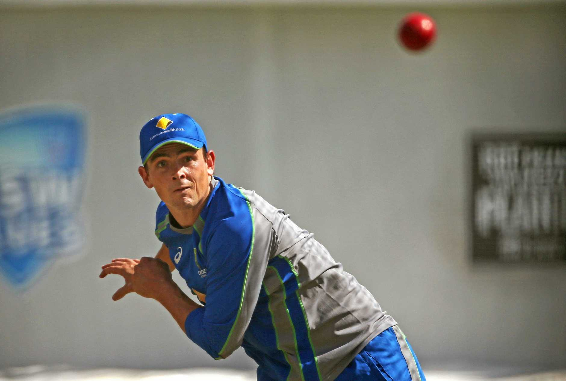 Australia's Stephen O'Keefe bowls in the nets.