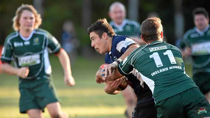 Grant Knight hits the Lismore defence while playing for Ballina in Far North Coast rugby union.
