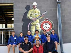 EVER ONWARD: (from back, left) Dalby State School leaders Hayden Taylor, Chlor Bound, Matilda Salter, Carl Dela Cruz, Mitchell Sternes and Abbey Burton, and (front) QFES Area Commander for Dalby Warren Buckley, principal Mona Anau, and QFES Chaplain Joel Pukallus at school on Thursday.