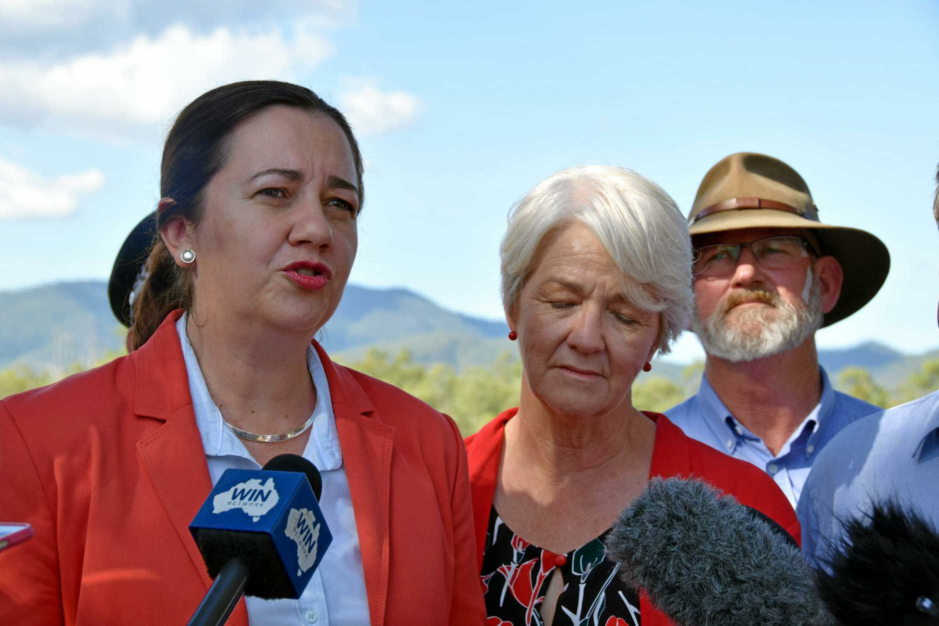 Queensland Premier Annastacia Palaszczuk addresses the media in Rockhampton on Saturday afternoon, alongside Rockhampton mayor Margaret Strelow and Rockhampton MP Bill Byrne.Photo Amber Hooker / The Morning Bulletin
