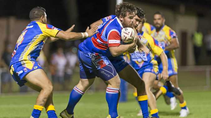 HIT-UP: Ricky Davies takes a run for the TRL All Stars in the inaugural Toowoomba Rugby League All Stars match against the South-West Emus.