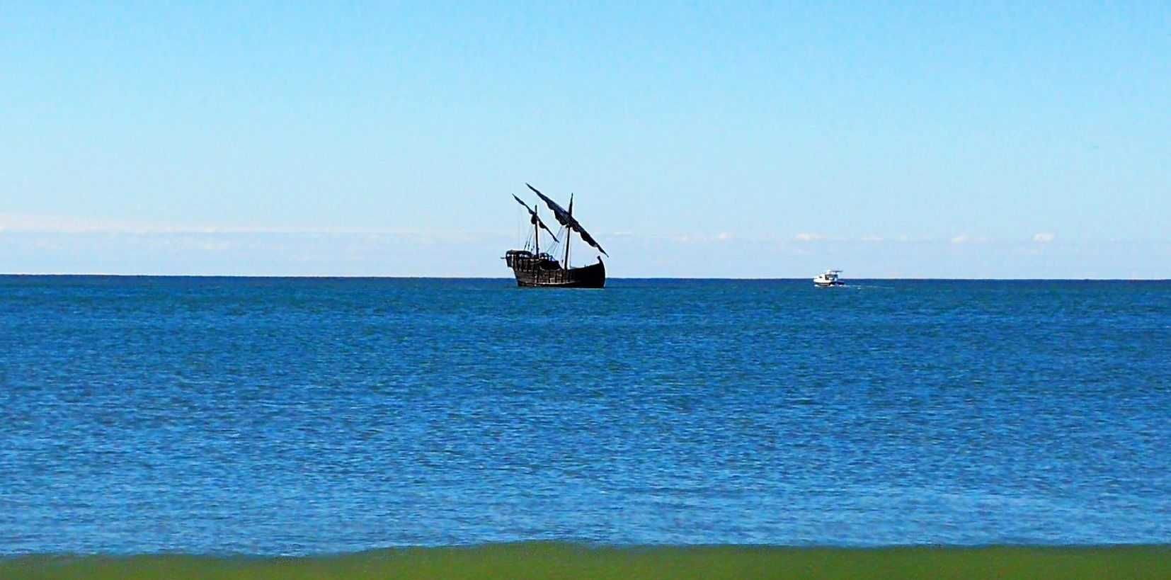 A pirate ship has anchored off Mooloolaba.