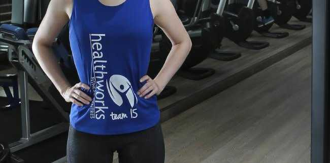 Vanessa McKinnon, 24, does weights at Healthworks Fitness, Teneriffe.