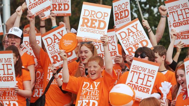 Redheads rejoice. You're somewhat of a human unicorn, so own the colour of your tresses like Aiden MacDonald (centre) and his fellow gingers did last year ahead of the Ginger Pride March. (Pic: Hamish Blair)
