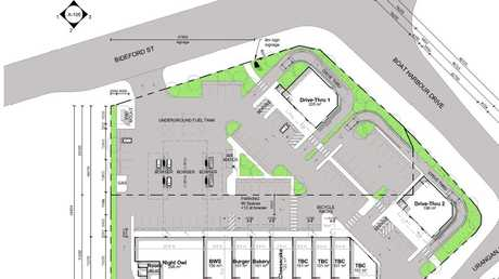 The ground plan for the proposed Bideford St development, showing the location of the new shops, servo and drive-thru stores.