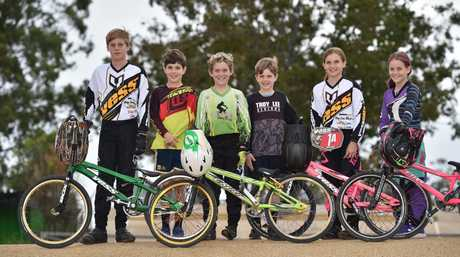 Maryborough BMX riders - (L) Cooper Rufus,13, Cadell Sheppard,9, Aiden Barsby,10, Aston Sheppard,7, and Teya,10, and Shae,8, Rufus.