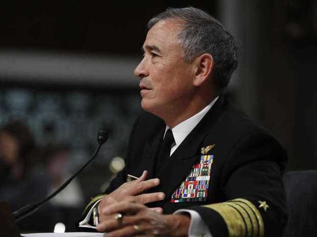 U.S. Pacific Command Commander Adm. Harry Harris Jr. testifies on Capitol Hill in Washington, Thursday, April 27, 2017, before the Senate ?Armed Services Committee hearing on North Korea. Harris said the crisis with North Korea is at the worst point he's ever seen, but he declined to compare the situation to the Cuban missile crisis decades ago.